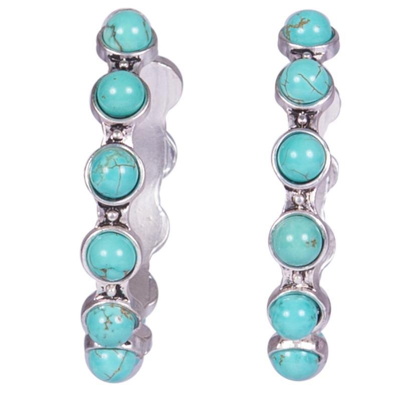 Natural Turquoise Hoop Post Earrings