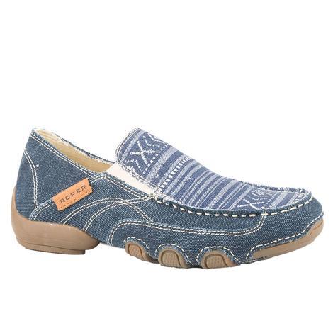 Roper Womens Denim Aztec Slip On Shoes