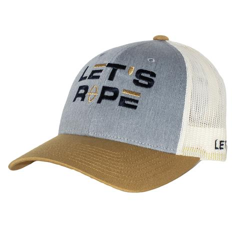 Let's Rope Mustard Navy White Meshback Cap