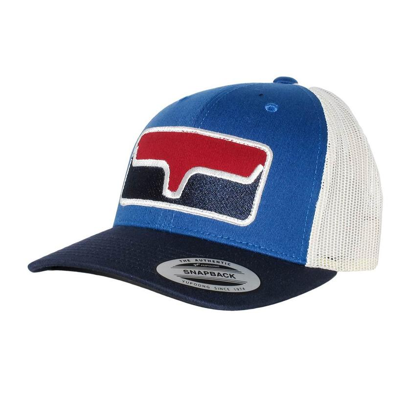 Kimes Ranch Blocked Patch Blue Red Trucker Cap