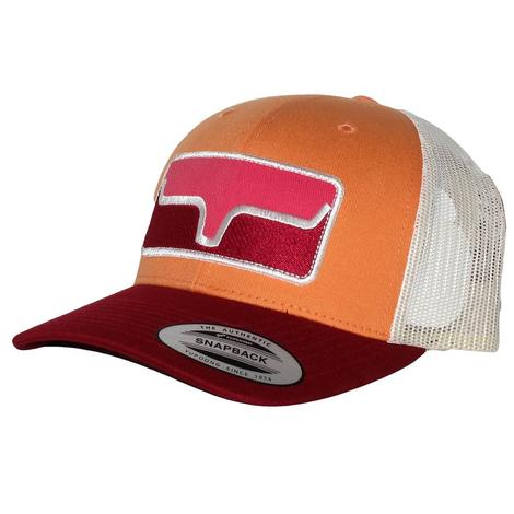 Kimes Ranch Blocked Patch Pink Orange Trucker Cap