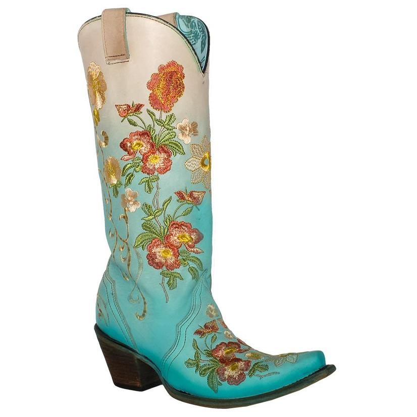 Corral Womens Turquoise Orange Floral Embroidered Boots