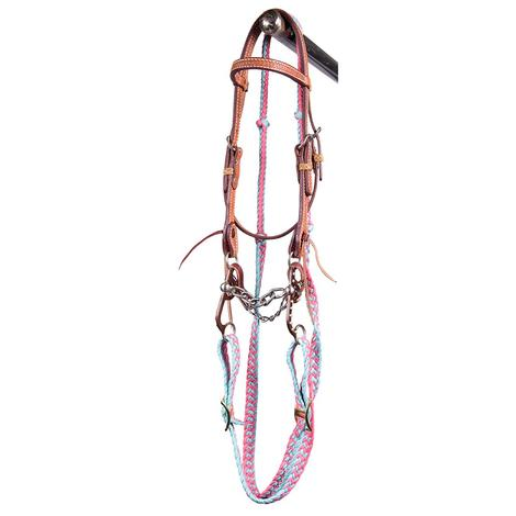 STT Pony Chain Mouth Bridle Set Pink Turquoise Reins