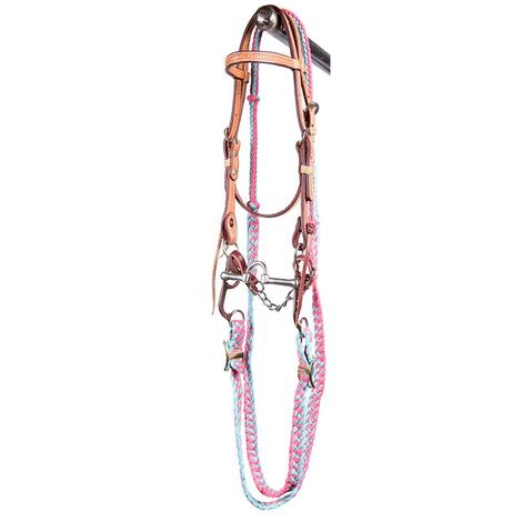 STT Pony Correction Mouth Bridle Set Pink Turquoise Reins