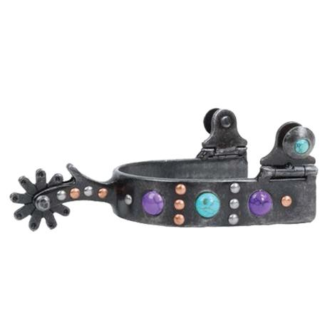 Professional Choice Dot Band with Turquoise Purple Stones Spur