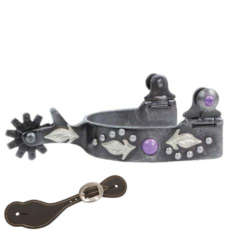 Professional Choice Feather Ladies Spur with Purple Stone and Spur Strap