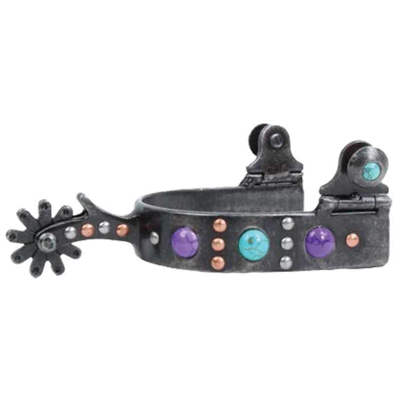 Professional Choice Dot Band With Turquoise Purple Stone Ladies Spurs