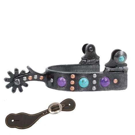 Professional Choice Dot Band Turquoise Purple Stones Youth Spur with Spur Straps