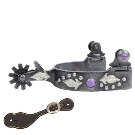 Professional Choice Feather Spur Purple Stone Youth Spur with Latigo Spur Straps