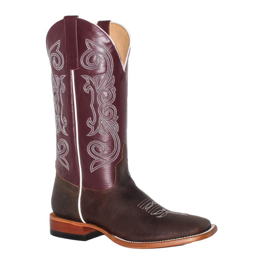 Horsepower Mens Maroon Top Chocolate Bucko Western Boots