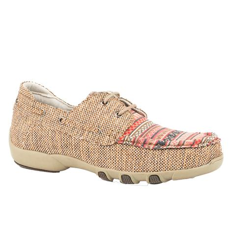 Roper Womens Tan Aztec Woven Lace Up Shoes