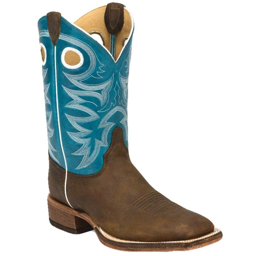 Justin Mens Caddo Blue Bent Rail Western Boots