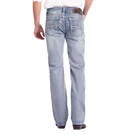 Rock & Roll Cowboy Double Barrel Straight Fit Khaki and Ivory Jeans