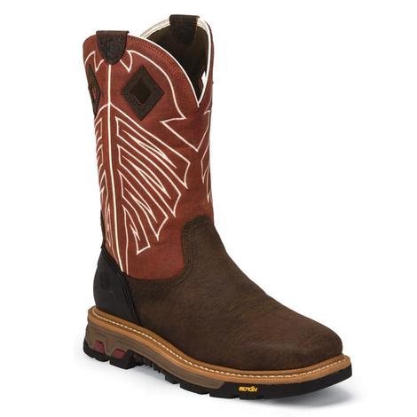 Justin Mens Roughneck Waterproof Steel Toe Work Boot
