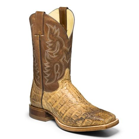 Justin Mens Voltage Tan Caiman Square Toe Boot