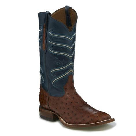 Tony Lama Mens Brandy Hermoso Full Quill Ostrich Western Boots