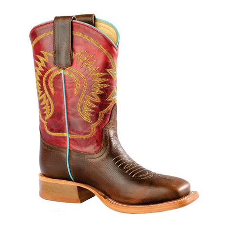 Anderson Bean Boys Red Glove Moka Pit Bull Western Boots - Youth Size 4-6