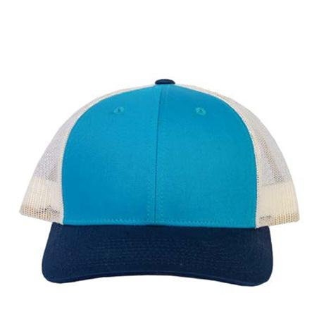 Teal and Navy Blue Low Pro Trucker Snapback Cap