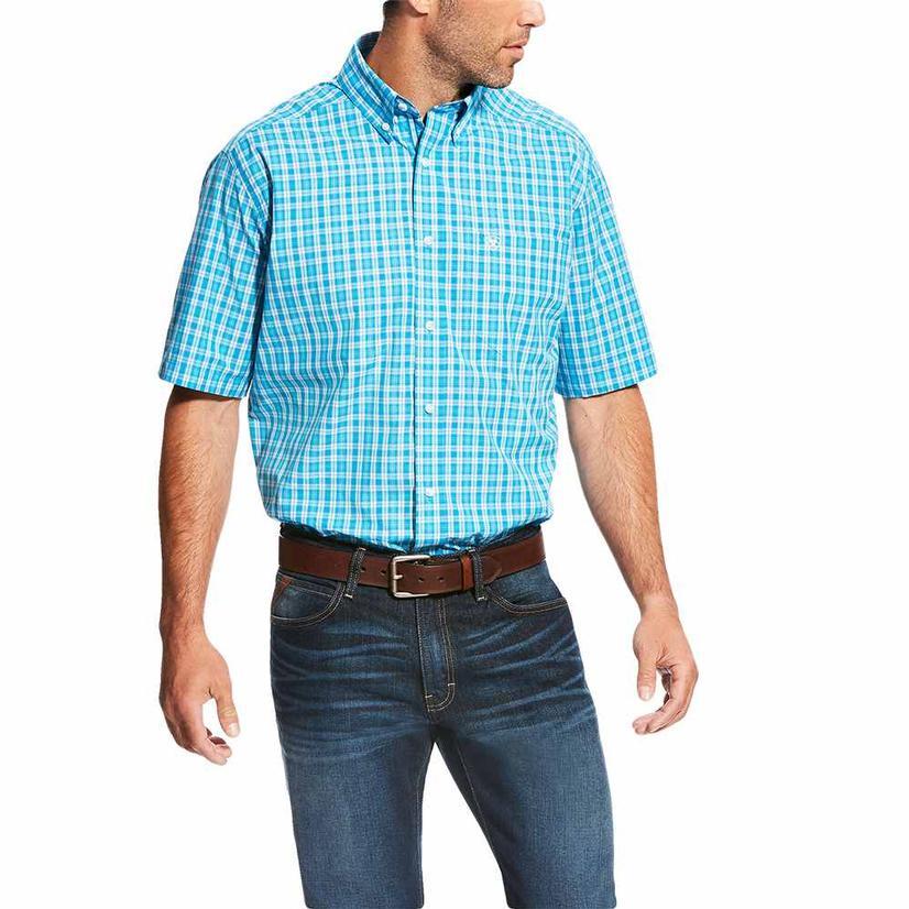 Ariat Mens Lawson Deep Aqua Plaid Short Sleeve Shirt