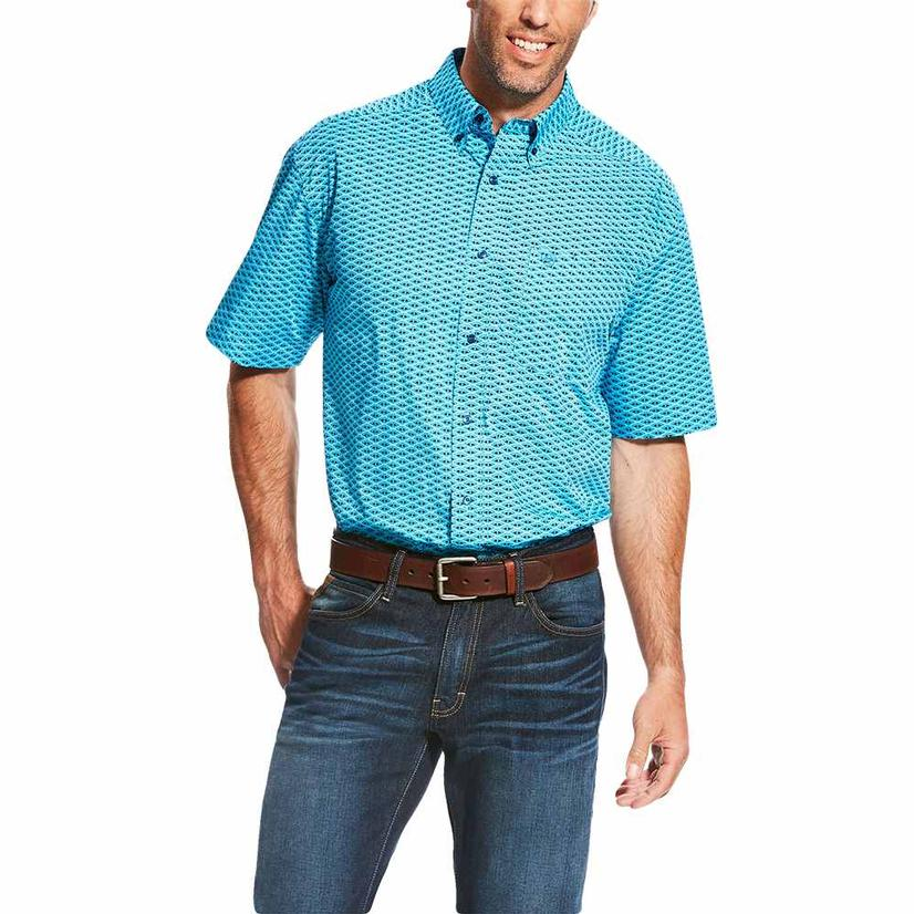 Ariat Mens Lowan Print Blue Atoll Short Sleeve Shirt