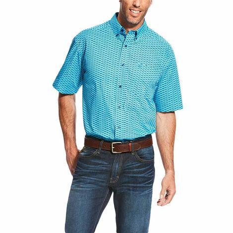 Ariat Mens Lowan Print Blue Atoll Short Sleeve Shirt