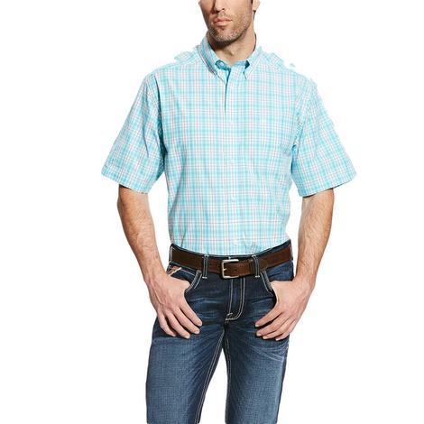 Ariat Mens Gibson Short Sleeve Performance Blue Shirt
