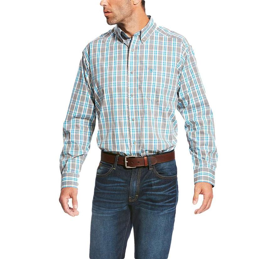 Ariat Mens Lucerne Grey Blue Plaid Button Down Long Sleeve Shirt