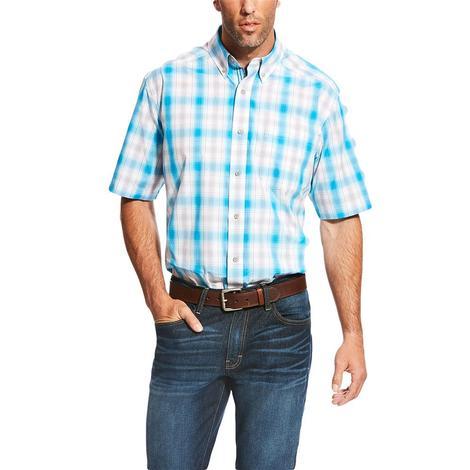 Ariat Mens Lowry White Blue Plaid Short Sleeve Shirt