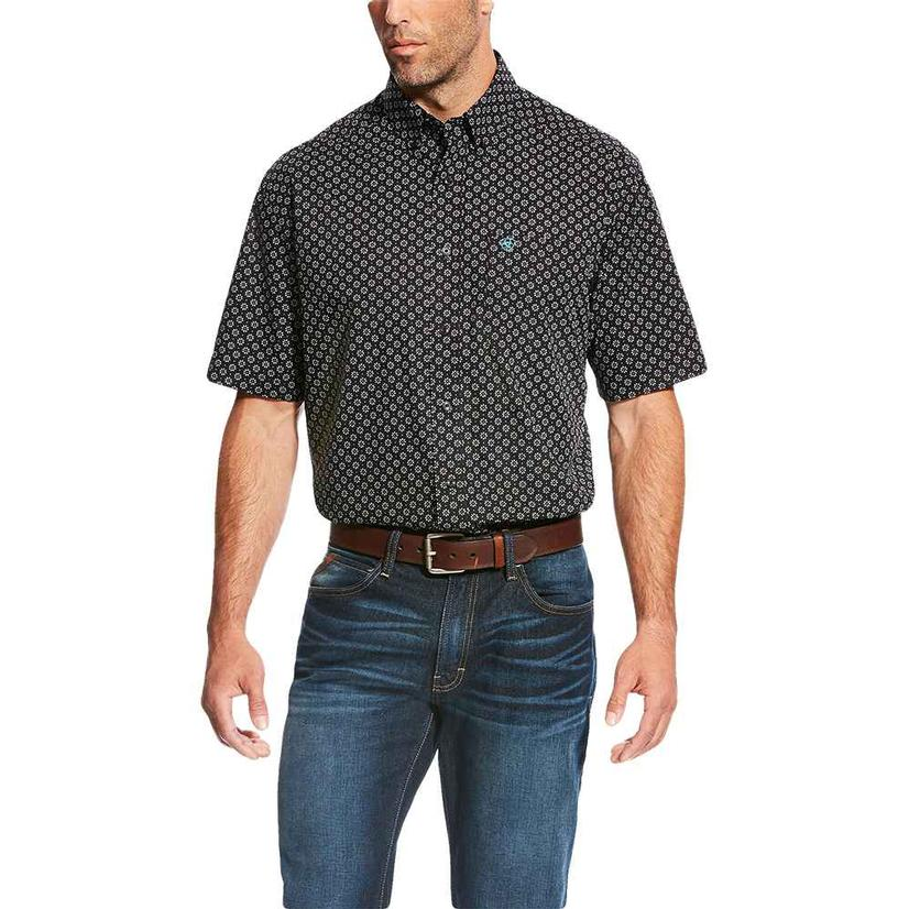 Ariat Mens Lynell Floral Print Black Short Sleeve Shirt
