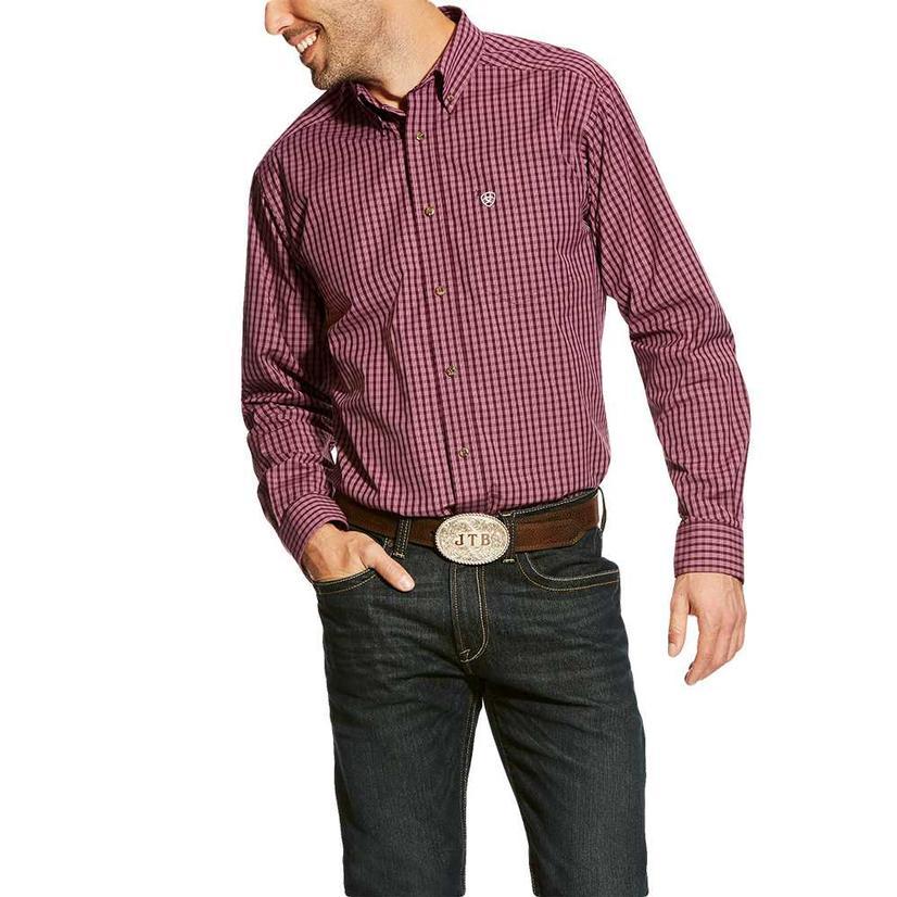 Ariat Fitted Aberson Purple Dahlia Plaid Long Sleeve Men's Shirt