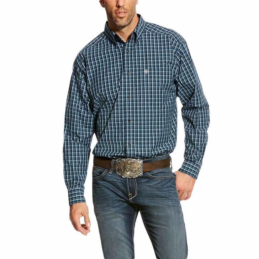 Ariat Mens Abington True Navy Plaid Long Sleeve Shirt