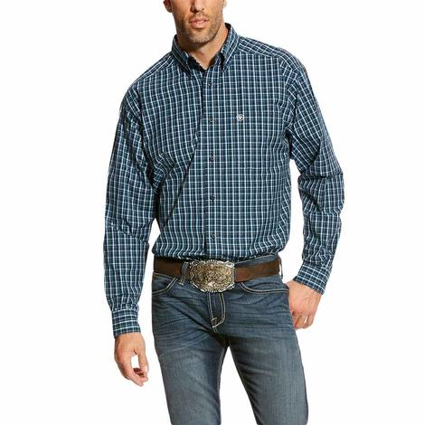 Ariat Mens Abington True Navy Plaid Long Sleeve Shirt