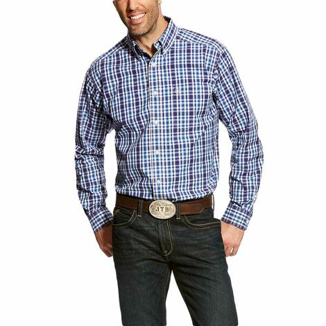 Ariat Mens Fitted Abrahms Blue Plaid Long Sleeve Shirt
