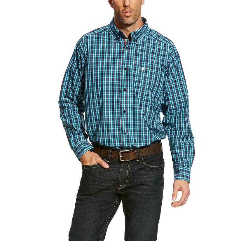 Ariat Mens Baines Multi Plaid Long Sleeve Button Down Shirt