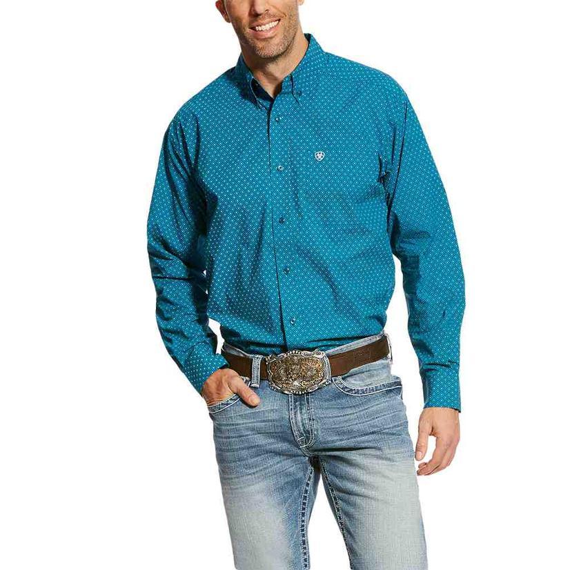Ariat Mens Banco Fluid Teal Print Long Sleeve Shirt