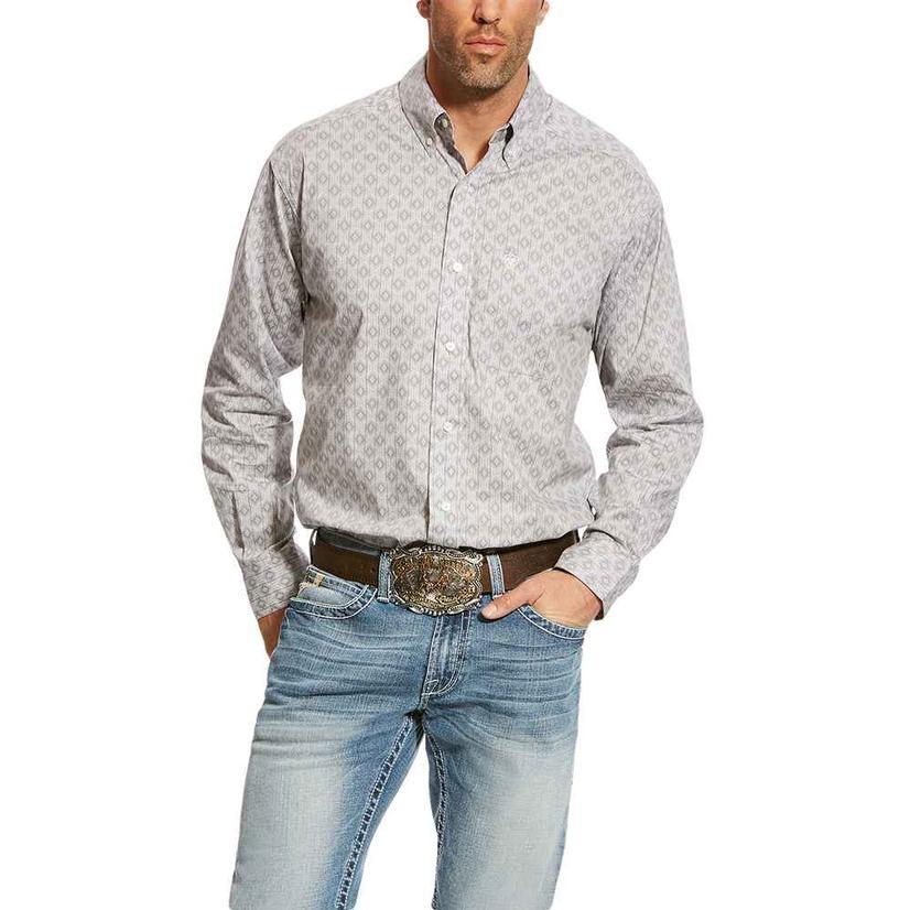 Ariat Carlington Stretch Print Aztec Grey Long Sleeve Men's Shirt
