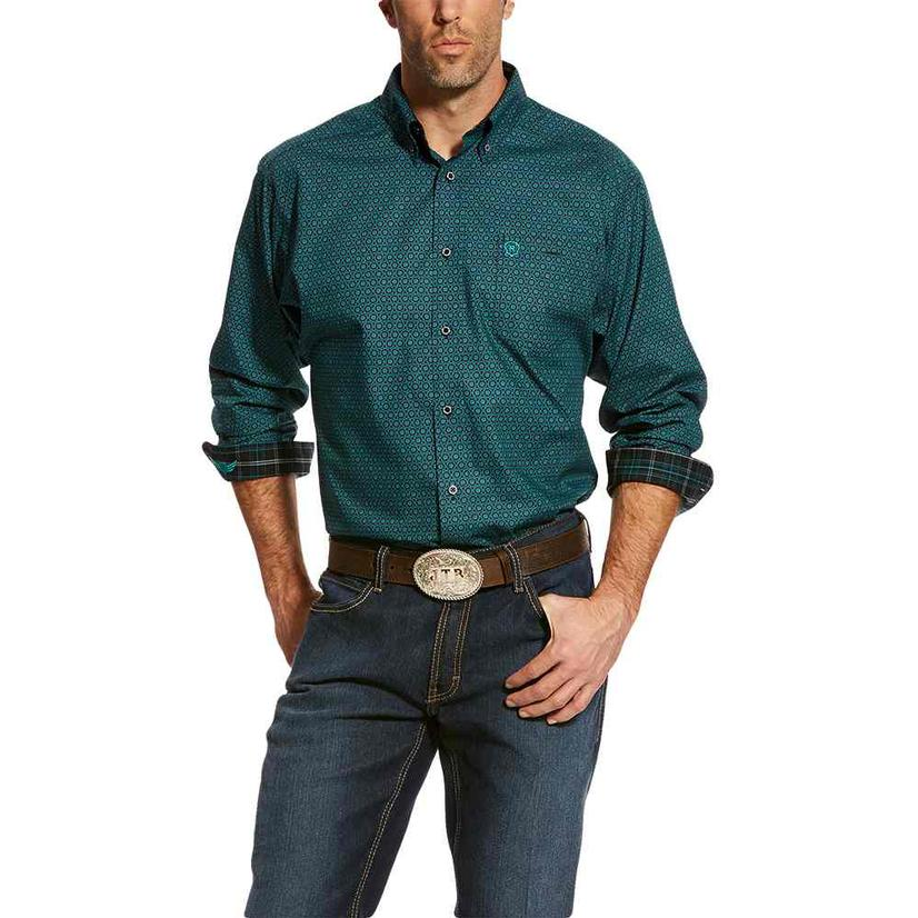 Ariat Mens Relentless Perseverance Teal Black Print Long Sleeve Shirt