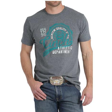 Cinch Mens Grey with Turquoise Logo Tee