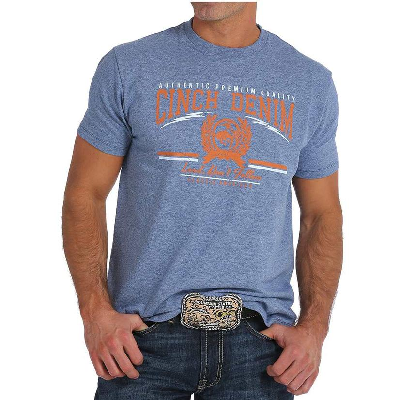 Cinch Mens Denim Orange Logo Tee