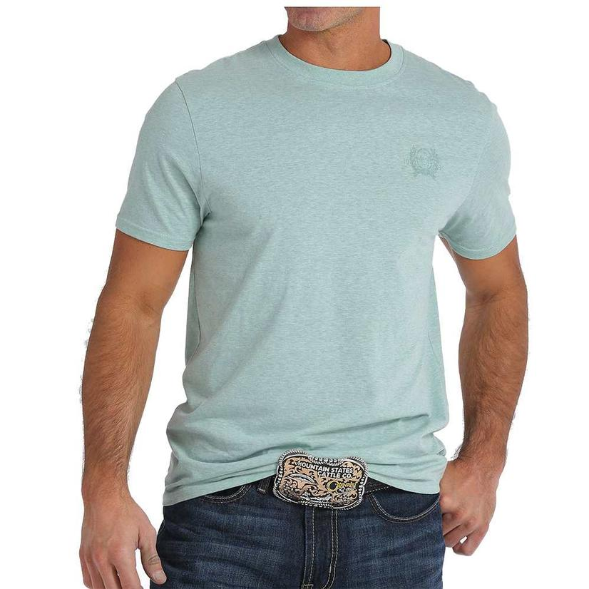Cinch Mens Heather Teal Logo T- Shirt