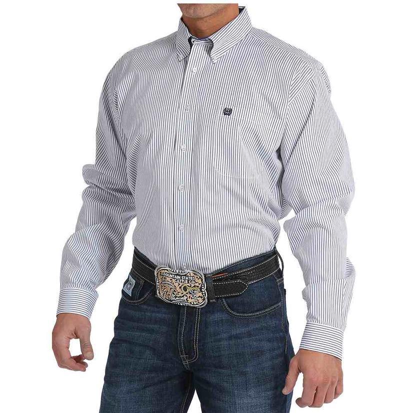 Cinch Mens White Striped Pattern Western Shirt