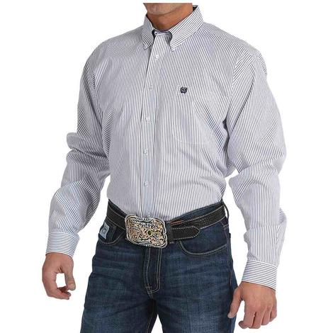 Cinch Mens White Striped Pattern Western Shirt