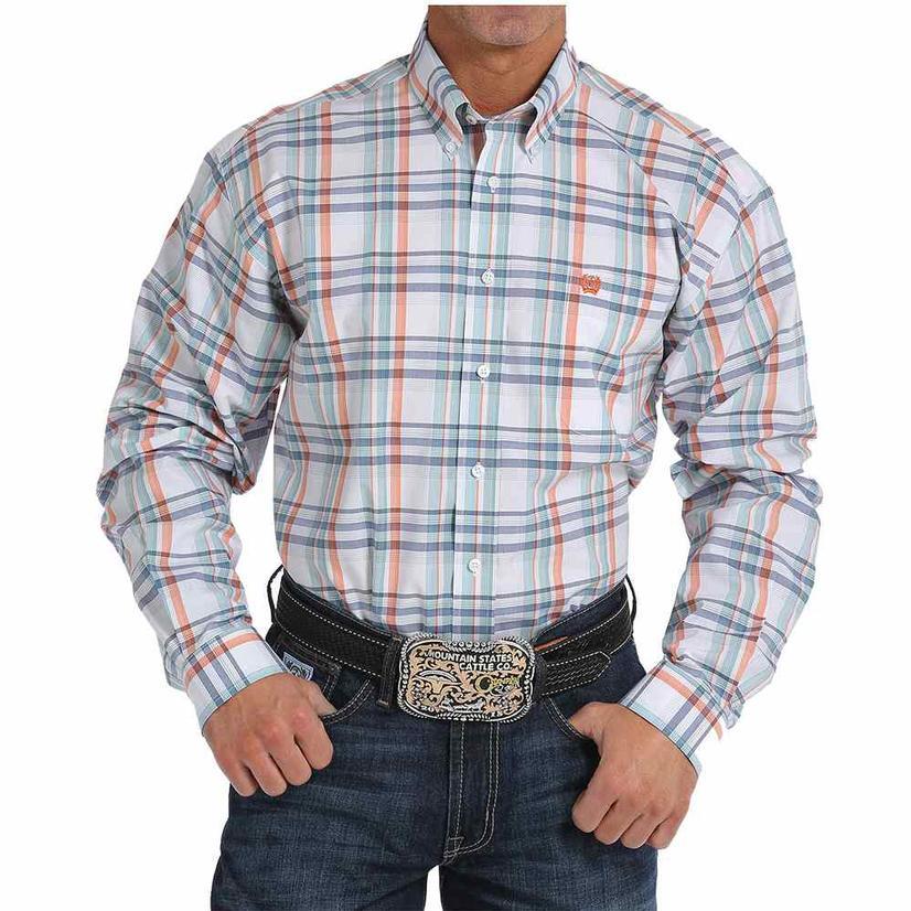 Cinch Mens Orange Blue Plaid Long Sleeve Shirt
