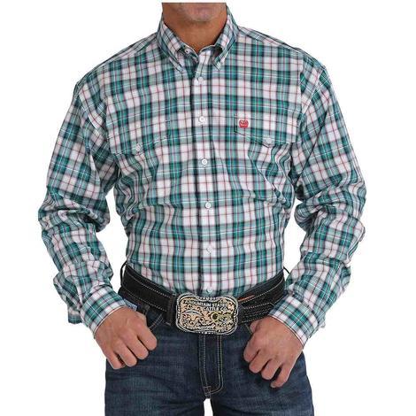 Cinch Mens Teal Plaid Long Sleeve Button Down Shirt