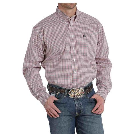 Cinch Mens Red Plaid Button Down Long Sleeve Shirt