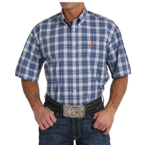 Cinch Mens Navy Plaid Short Sleeve Shirt
