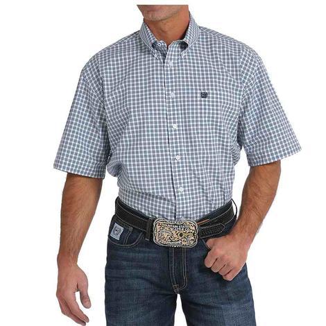 Cinch Mens Navy White Plaid Short Sleeve Shirt