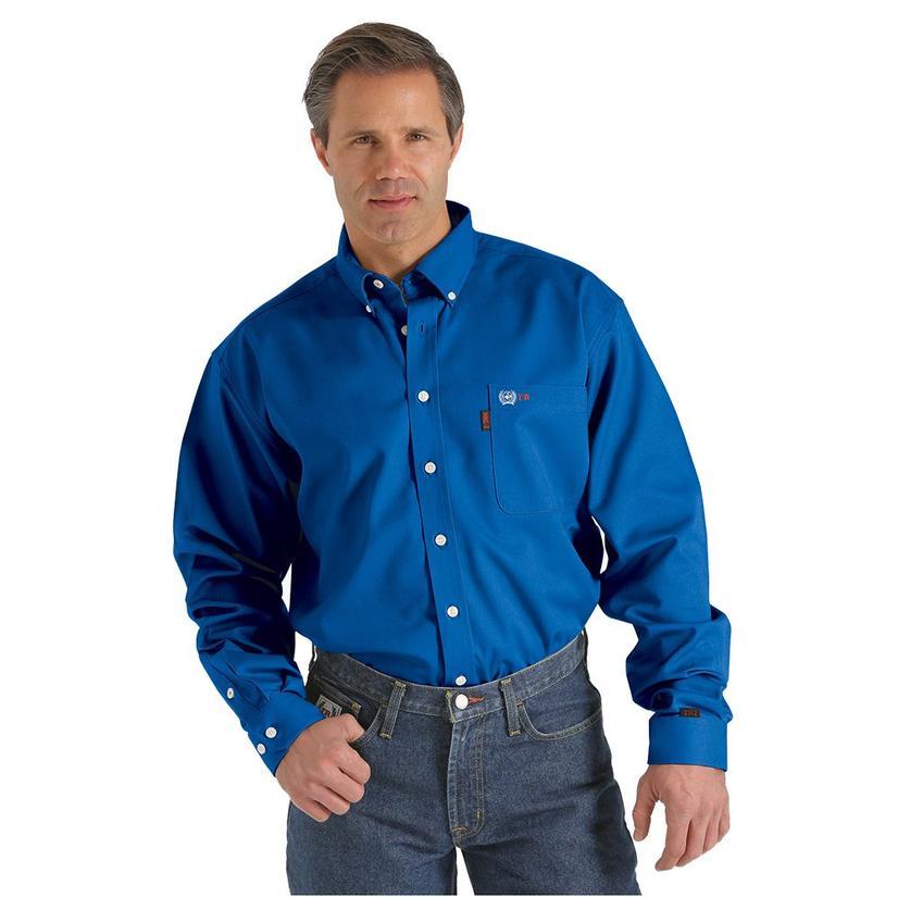 Cinch Mens Royal Blue Fire Resistant Long Sleeve Button Down Shirt