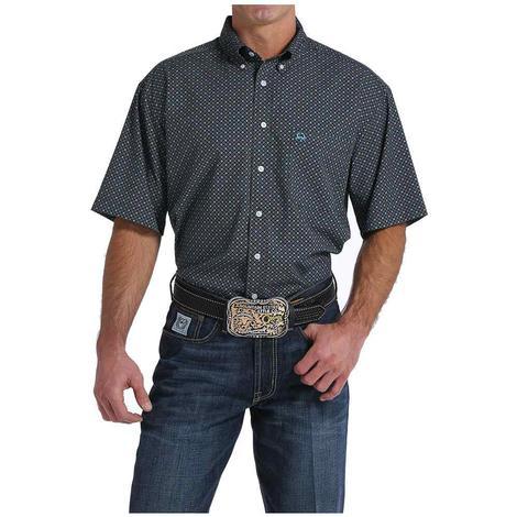 Cinch Mens Grey Turquoise Arenaflex Short Sleeve Shirt