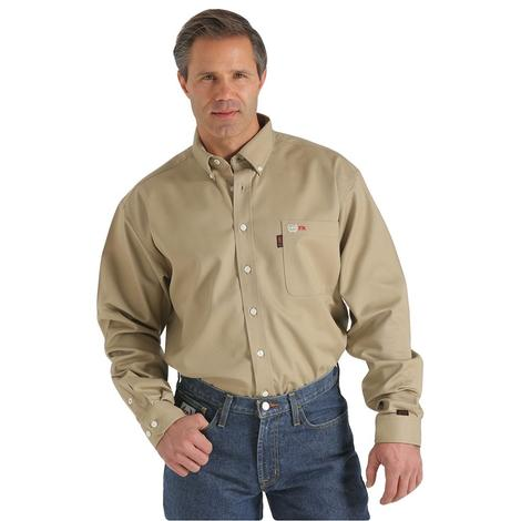 Cinch Mens Fire Resistant Khaki Solid Long Sleeve Button Down Shirt